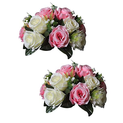 Sziqiqi Pack of 2 Fake Flowers, Silk Rose Flowers, Suit for Wedding/Party Centerpiece Road Lead Flower Rack Decorations, 2 Pieces