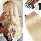 40 PCS Extension Adhésive Naturel Cheveux Humains Naturel Rajout Cheveux Extension Bande Adhésive Tape In Hair Extension Skin Weft [12 Pouces,#60 Blond Platine]