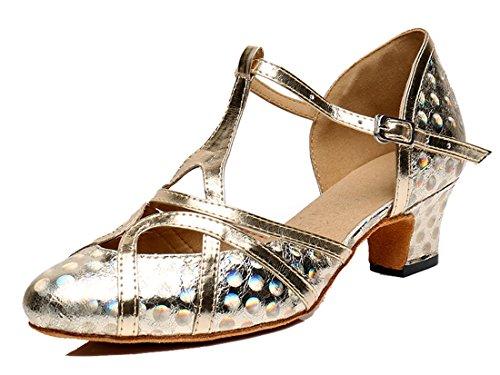 MGM-Joymod - Zapatos de baile latino para mujer con purpurina sintética para la tarde de la boda, color Dorado, talla 35.5 EU