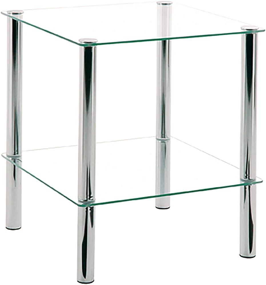 Haku moebel, palermo, tavolino, trasparente,in acciaio cromato e vetro 90238