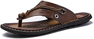 Pu Leather Sandals Summer Men Shoes Outdoor Sandals Summer Breathable Beach Shoes (Color : Khaki, Size : 42)