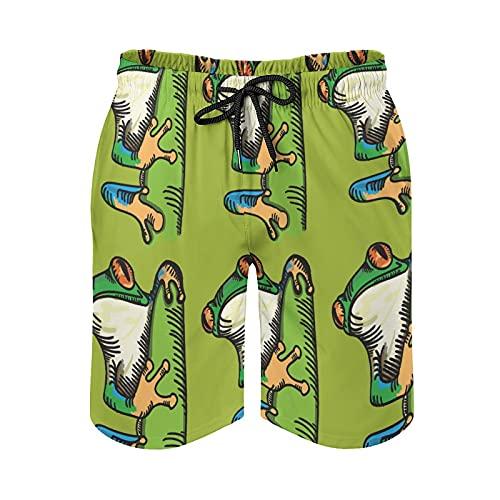 QUEMIN Strand-Shorts mit Kordelzug für Herren, Badehose für Tropische Laubfrösche Schnelltrocknendes Futter mit Taschen, XXL
