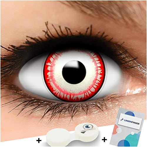 FUNZERA Farbige Kontaktlinsen Killer Clown, in rot und weiß inklusive Kontaktlinsenbehälter