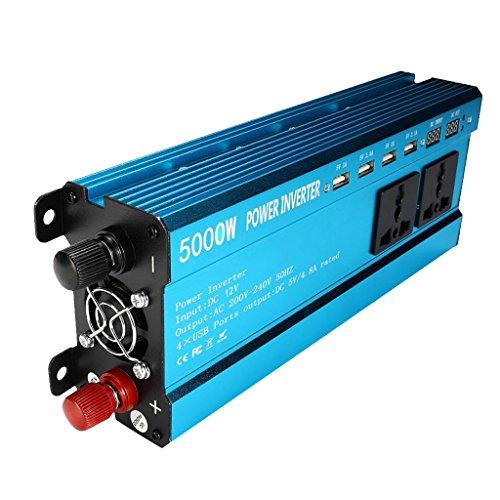 MagiDeal Voiture 5000 W Solaire Onduleur Affichage 12 V CC à 220 V AC Sinus Convertisseur d'onde