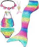 Le SSara Conjunto de 5 Piezas Colas de Sirena para Nadar Traje de Baño para Niñas Princesa Bikini 3-12 años (Sin Monofin) (DH102(PGold), 7-8 Años)