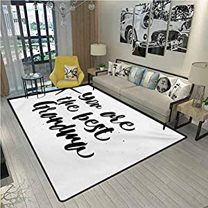 Grandma Boys Girls Baby Kids Children Rugs Monochrome Quote About Best Grandmother on a Grunge Inspired Dotted Background for Kids Baby Room Bedroom Nursery Black White 6.5 x 9.8 Ft