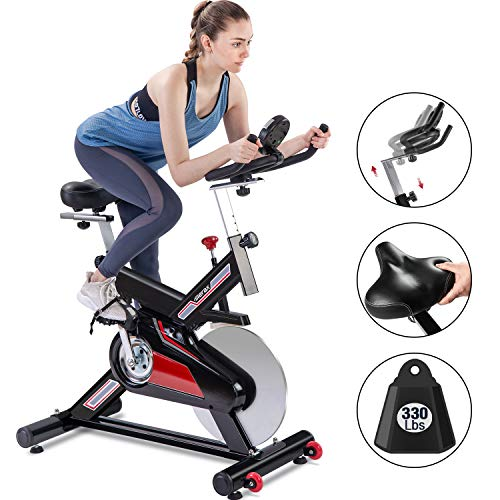 Merax Classic Indoor Cycling Bike w/ 4-Way Adjustable Handlebar & Seat, Large Saddle Cushion, LCD Monitor for Quiet Comfortable Home Cardio Workout 2020 Upgraded Belt Drive Stationary Bike