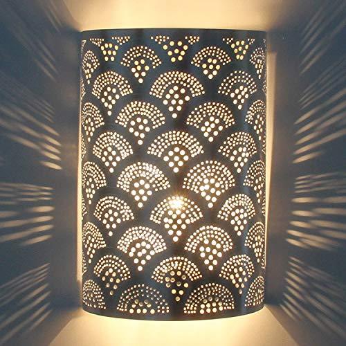 Orientalische Wandlampe marokkanische Wandleuchte Aya H30 x B 20 cm Silber | Echt versilberte Messing-Lampe | Prachtvolle Wandbeleuchtung für tolle Lichteffekte wie aus 1001 Nacht | AWL1200