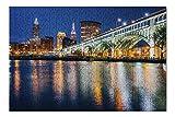 Cleveland, Ohio - Skyline & Detroit-Superior Bridge at Night 9035801 (Premium 500 Piece Jigsaw Puzzle for Adults, 13x19)