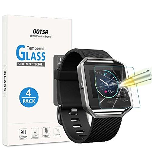 [4 Pezzi] OOTSR Protettore di Vetro Temperato per Fitbit Blaze, Pellicola Protettiva per Fitbit Blaze [No-Bubble] [Resistente ai graffi]