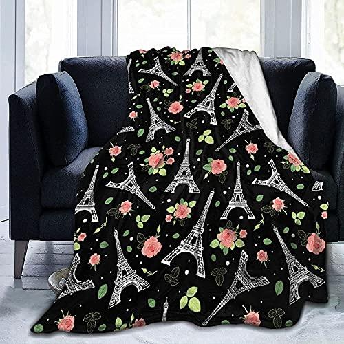 Manta De Lana De Franela, Negro, Rosa, Torre Eiffel, París, Rosas, Suave Manta para Sofás / Sofá / Sillas / Sofá, Ligera, Cálida Y Acogedora 150X125 Cm