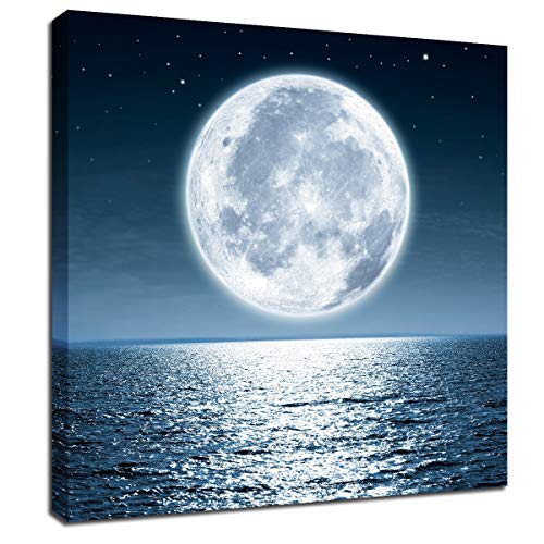 Moon Painting Wall Art Canvas - Moonrise at Sea Ocean Framed Pictures for Living Room Decorations 12x12inch Home Office Modern Landscape Poster Nature Print Ready to Hang Bedroom Bathroom Artwork