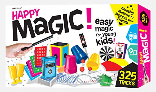 Happy Magic 325 Trick Set - Magic Set for Kids 6 and Up - Clear Instruction Guide with Pictures and Videos - Expanded Magician Kit for Kids
