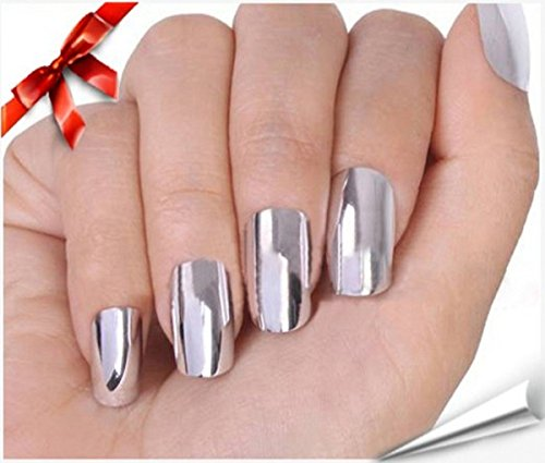 CHENGYIDA 16 Pcs Super Star Nail Art Polish (Silver) Metallic Foil Sticker Patch Wraps Tips for Women Girls Wife As Valentine's Day Gift