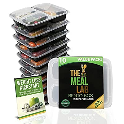 [BONUS-PACK] 10 Premium 3 Compartment BPA FREE Reusable Food Storage Containers with Lids   Bento Lunch Box & Bag   Stackable Portion Control Gadgets & Plates Set for Weight Loss + FREE Cutlery