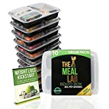 [Bonus-Pack] Premium Qualtiy 3-Compartment BPA FREE Stackable Meal Prep Food Storage Containers with Lids | Microwave & Dishwasher Safe Bento Lunch Box | Reusable Portion Control Plates + FREE Cutlery