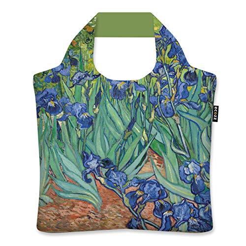 ecozz Irises Vincent Van Gogh - Bolsa de la compra plegable con cremallera, reutilizable, bolso de mano, bolsa de playa, bolsa de playa, bolsa de la compra ecolgica