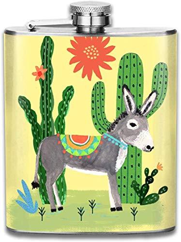 Flachmann, Fläschchen für Schnaps, mexikanischer Esel mit Kakteen Mode tragbare Edelstahl Flachmann Whiskyflasche für Männer und Frauen 7 Unzen
