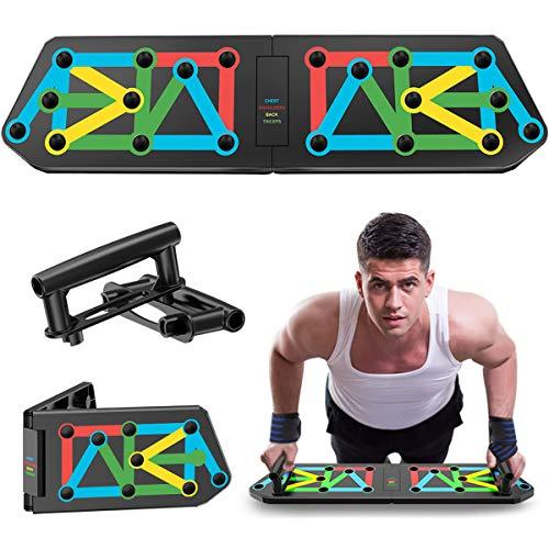 GUARD & REVIVAL TREAT Push Up Rack Board Faltbare, 12 in 2 Muskelaufbau-Übungswerkzeuge with Liegestützgriffe & Armband, Heimtrainingsgeräte für Männer Frauen