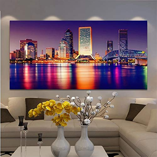 Large 5D Diamond Painting Kits for Adults, Kids Florida Tampa Night View (70x140cm/25x56in) DIY Full Drill Diamond Art Embroidery Crystal Rhinestone Cross Stitch Arts for Home Decor Office Presents