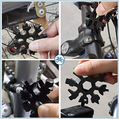 Stainless Steel 18-in-1 Snowflakes Multi-Tool, Snowflakes Multi-Tool with Bottle Openerwith Key Ring Screwdriver, Outdoor Wrench, Elegant Gifts For Men That Are Easy To Carry (Black)