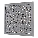 DECORINY Hand Made Distressed Decorative Décor Panel | Handmade by Skilled Artisans, A Beautiful and Elegant Accessory to Dress up Wall, 16' Square, Grey