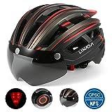 Lixada Casque de vélo Mountain Bike Helmet Casque de Moto avec Lumière Arrière Détachable Magnétique Visière UV de Protection pour Hommes Femmes