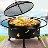 hmercy Outdoor Fire Pit 30 Inch Fireplace Wood Burning Patio Bonfire for Outside with Spark Screen and Fireplace Poker (Circular)…