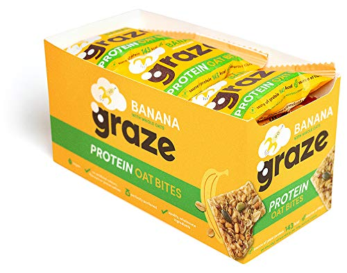 Graze Banana Protein Oat Bites - Vegan Healthy Snack with Whole Oats - 30g (Pack of 15)