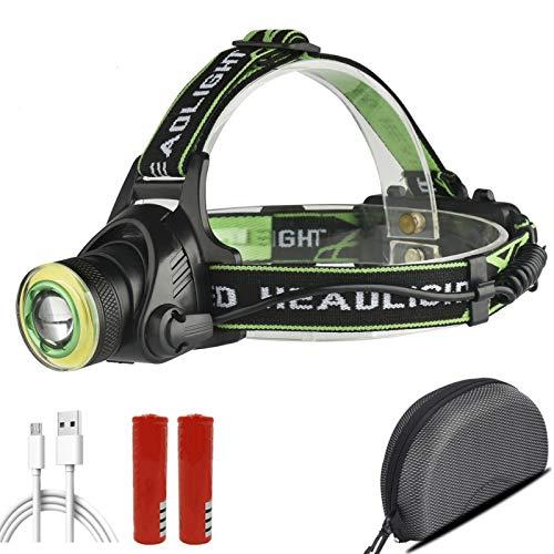 Linterna frontal XM-L T6 y COB LED faro con zoom 18650 batería recargable por USB para cabeza de pesca, linterna linterna de la linterna de la linterna impermeable paquete de luz D