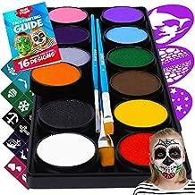 Face Paint Kit for Kids – Blue Squid 12 Color Palette, 30+3 Stencils, Washable Paints, Brushes Guide, Safe Facepainting for Sensitive Skin, Professional Quality Body & Face Facepaints Halloween Makeup
