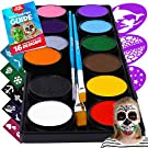 Face Paint Kit for Kids – Blue Squid 12 Color Palette, 30+3 Stencils, Washable Paints, Brushes Guide, Safe Facepainting for Sensitive Skin, Professional Quality Body & Face Facepaints Halloween Makeup