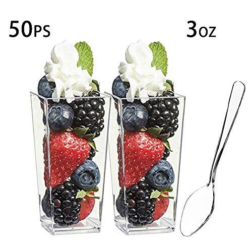 Bicchieri da dessert - forma quadrata in plastica trasparente con cucchiai - 100 ml - Confezione da 50 mini coppette - coppette di cioccolato per dessert, antipasti