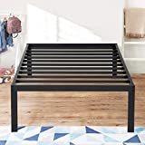 Olee Sleep 16 Inch Metal Platfrom Bed Frame with Steel Slats, Twin, Black