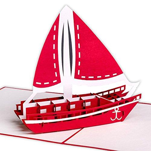 XXL 3D-Pop-Up-Karte mit Segelschiff/Katamaran z.B. als Reise-Gutschein, Wellness-Urlaub, Verpackung für Geldgeschenke o. Urlaubsgeld, Erlebnis-Gutschein für Kurzurlaub, Urlaubskarte