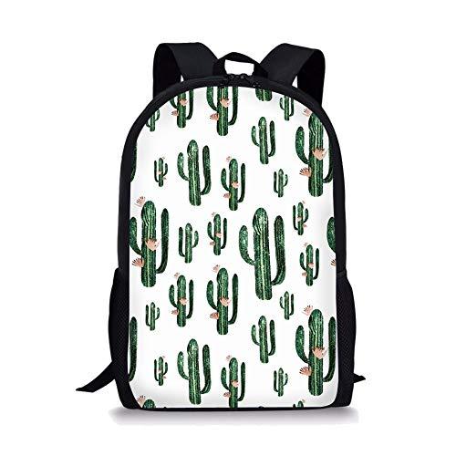 Aulaygo Cactus White School Backpack for Children Green Plant Print Casual Bookbag for Kids