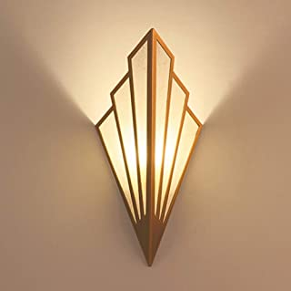 WOAIM Wall Wash Lights Lamp Sconce European Style Sector Iron Burlap Creative Personality Living Room Bedroom Bedside Cafe Bar Gift Light E14,Warmlight
