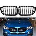 DYBANP Auto-Frontgrills, für BMW X3 X4 F25 F26 2014-2017, 2-teilige Ersatzgrills in glänzendem Schwarz