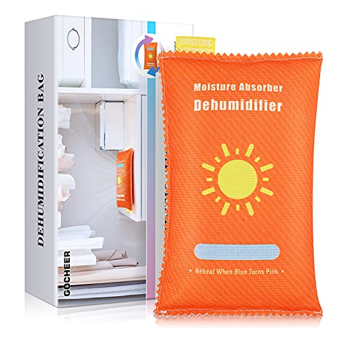 Gocheer Reusable Moisture Absorber, Hangable Dehumidifier Bag for Closet Damp Humidity Removal Desiccant for Safes Car RV Kitchen Bathroom 400g