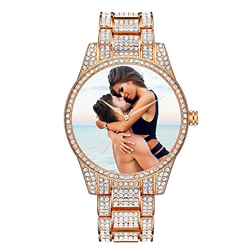 Reloj de Diamantes Personalizado para Mujer Reloj de Pulsera Personalizado Reloj de Hip Hop Bling Reloj de Fotos con Diamantes completos (Oro Rosa)