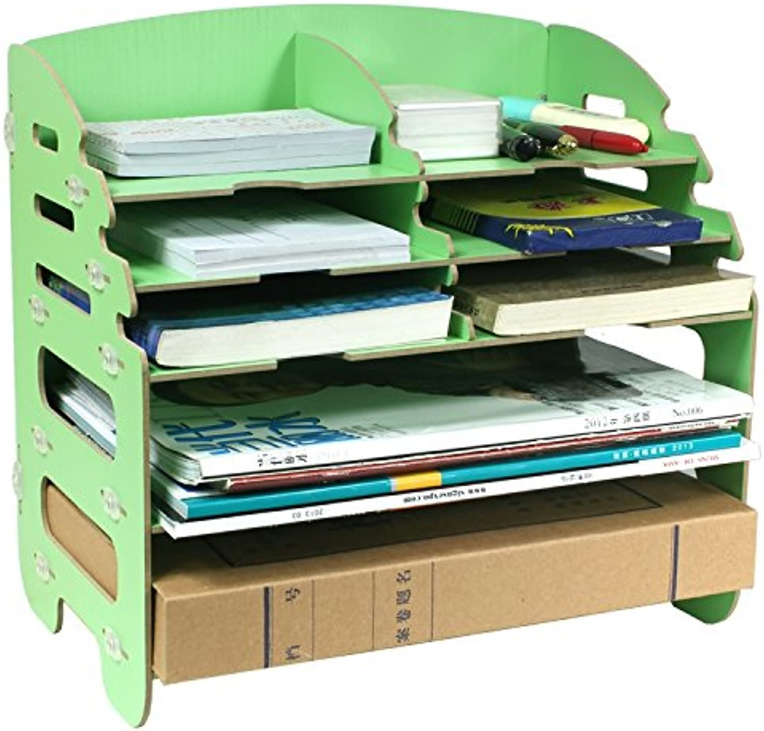 Shelf Desktop Office Finishing Basket Document Binding Frame Stepped Data Box A4 Paper Storage Box (color   Green)