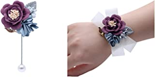 Flonding Rose Wedding Wrist Corsage and Boutonniere Set Party Prom Hand Ribbon Flower Suit Decor (color4)