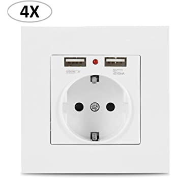 Dightyoho Enchufes de pared, Caja de enchufe tipo Schuko con 2 puertos USB, se adapta a tomas de corriente estándar, para cargar dispositivos móviles, Smartphone, MP3, Tableta (4): Amazon.es: Bricolaje y herramientas