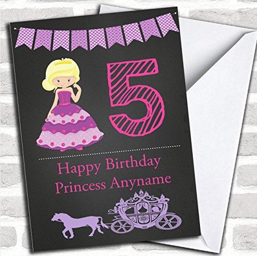 Chalk Princess Blonde Paard Vervoer Kinderen Verjaardag Aangepaste Groeten Kaart- Verjaardagskaarten/Kinderen Verjaardagskaarten