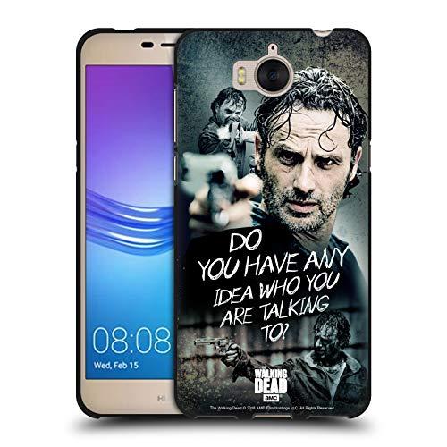 Head Case Designs Licenciado Oficialmente AMC The Walking Dead Pregunta Legado de Rick Grimes Funda de Gel Negro Compatible con Huawei Y5 (2017) / Y6 (2017)