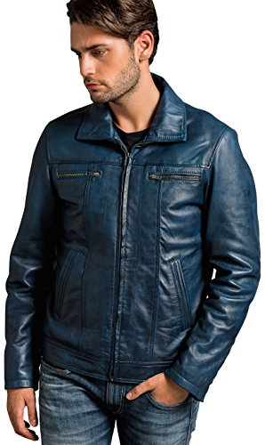 Urban Leather Calvin - Herren Lederjacke, Ocean Blue, Größe: 3XL