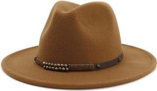 Songlin @ yuan Men Women Fedora Hat with Belt Wide Brim Hat Ladies Winter Hat Pop Jazz Hat Size:56-58cm (Color : Coffee, Size : 56-58)