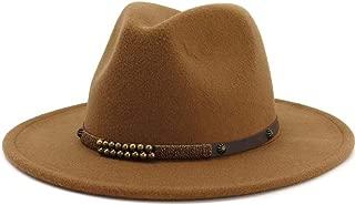 Wide Brim Wool Felt Jazz Fedora Hats for Men Women British Classic Trilby Party Formal Panama Cap Floppy Hat` TuanTuan (Color : Coffee, Size : 56-58)