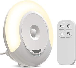 Luz Nocturna Lámpara de Noche con Enchufe para Niños con 11 Niveles de Brillo Mando a Distancia Función de Memoria Bajo Consumo
