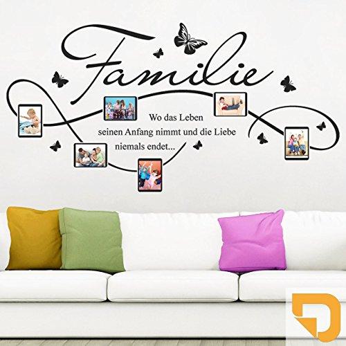DESIGNSCAPE® Wandtattoo Bilderrahmen Familie mit 6 Fotorahmen 90 x 46 cm (Breite x Höhe) hellorange DW807140-S-F23